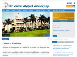 Shri Vaishnav Vidyapeeth Vishwavidyalaya's Website Screenshot