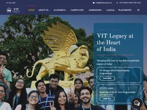 VIT Bhopal University's Website Screenshot