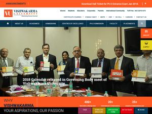 Vishwakarma University's Website Screenshot