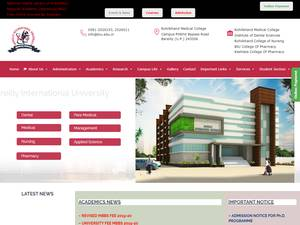 Bareilly International University's Website Screenshot