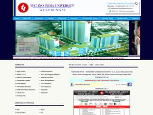 Techno India University's Website Screenshot