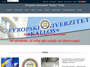 Evropski univerzitet Kallos Tuzla's Website Screenshot