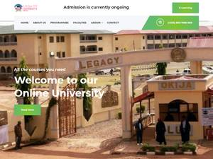 Legacy University, Okija's Website Screenshot