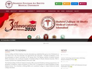 Shaheed Zulfiqar Ali Bhutto Medical University's Website Screenshot