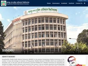 Bangabandhu Sheikh Mujib Medical University's Website Screenshot