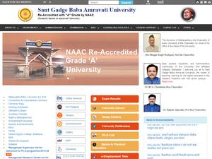 Sant Gadge Baba Amravati University's Website Screenshot