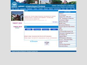 Anna University's Website Screenshot