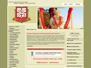 Maharaja Krishnakumarsinhji Bhavnagar University's Website Screenshot