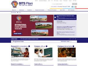 Birla Institute of Technology and Science's Website Screenshot