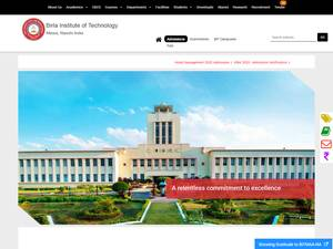 Birla Institute of Technology's Website Screenshot