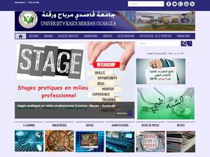 Université Kasdi Merbah de Ouargla's Website Screenshot