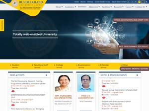 Bundelkhand University's Website Screenshot