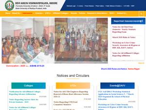 Devi Ahilya University / Indore University's Website Screenshot