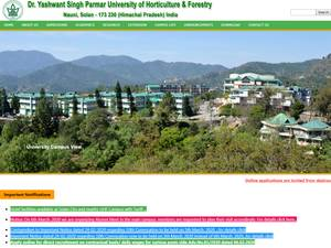Dr. Y.S. Parmar University of Horticulture and Forestry's Website Screenshot