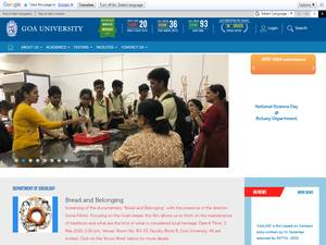 Goa University's Website Screenshot