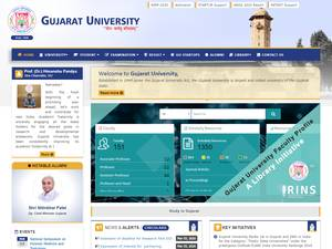 Gujarat University's Website Screenshot