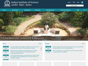 Indian Institute of Science's Website Screenshot