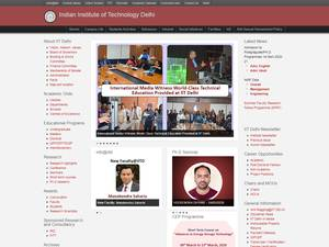 Indian Institute of Technology Delhi's Website Screenshot