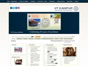 Indian Institute of Technology Kanpur's Website Screenshot