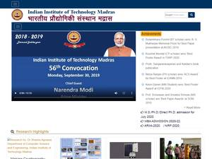 Indian Institute of Technology Madras's Website Screenshot