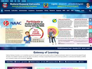 Madurai Kamaraj University's Website Screenshot