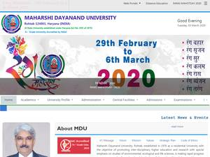 Maharishi Dayanand University's Website Screenshot