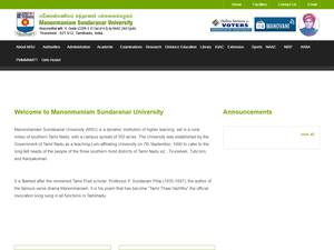 Manonmaniam Sundaranar University's Website Screenshot