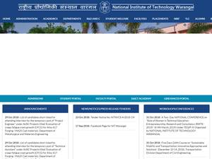 National Institute of Technology, Warangal's Website Screenshot