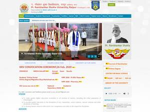 Pandit Ravishankar Shukla University's Website Screenshot