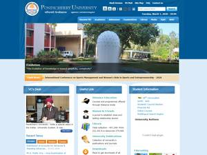 Pondicherry University's Website Screenshot