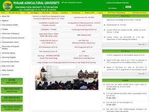 Punjab Agricultural University's Website Screenshot