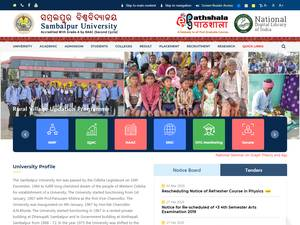 Sambalpur University's Website Screenshot