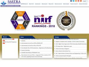 SASTRA University's Website Screenshot