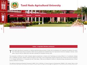 Tamil Nadu Agricultural University's Website Screenshot