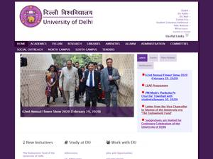 University of Delhi's Website Screenshot