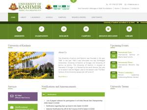 University of Kashmir's Website Screenshot