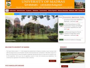 University of Madras's Website Screenshot