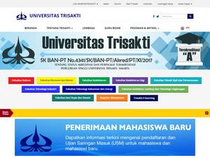 Universitas Trisakti's Website Screenshot