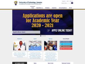 University of Technology, Jamaica's Website Screenshot