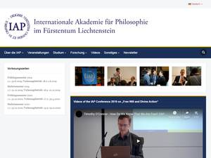 Internationale Akademie für Philosophie's Website Screenshot