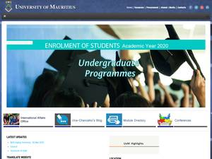University of Mauritius's Website Screenshot