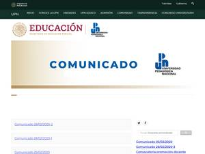 Universidad Pedagógica Nacional, Mexico's Website Screenshot