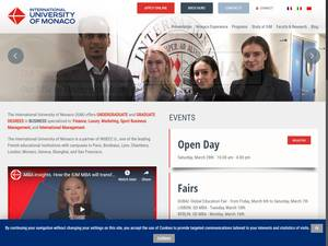International University of Monaco's Website Screenshot