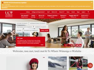 University of Canterbury's Website Screenshot