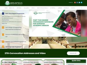 Federal University of Agriculture, Abeokuta's Website Screenshot