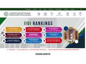 International Islamic University, Islamabad's Website Screenshot
