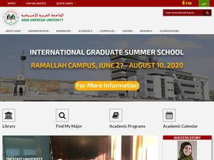 Arab American University's Website Screenshot