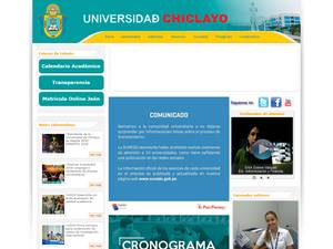 Universidad Particular de Chiclayo's Website Screenshot