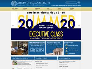 Ateneo de Naga University's Website Screenshot