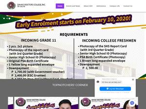 Davao Doctors College's Website Screenshot